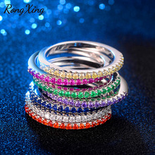 RongXing 8 Colors White/Green/Blue Stone Birthstone Rings For Women Single Row Round Zircon Midi Ring Silver Color Joint Jewelry