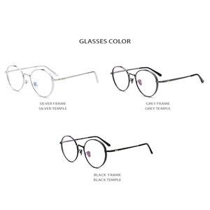 Image 5 - Оправа для очков из чистого титана для мужчин и женщин, круглые очки для близорукости в стиле ретро по рецепту, винтажные овальные корейские очки 2019
