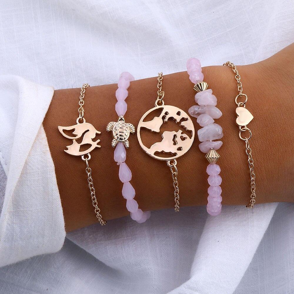 Able Famshin Vintage Turtle Heart Map Charm Bracelets Set For Women 2 New Design Stone Beads Infinite Bracelet Boho Jewelry Wholesale Bracelets & Bangles