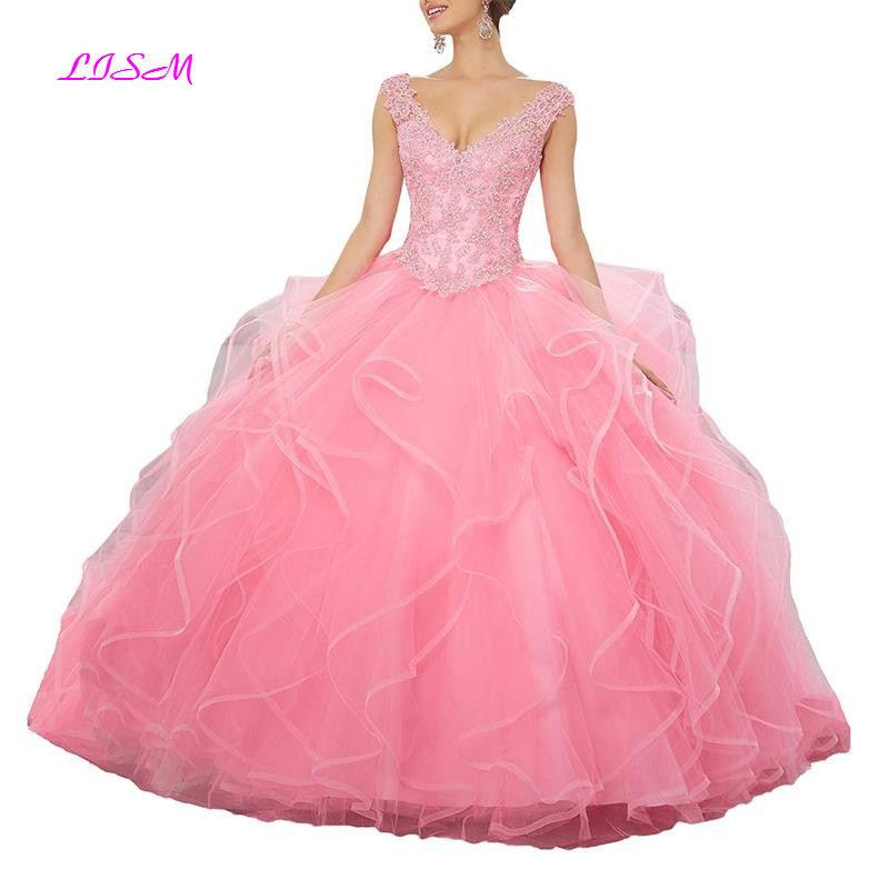 Women s Applique Beaded Organza Ruffles Prom Ball Gowns V Neck Lace up Quinceanera Dresses vestido