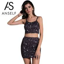 Anself 2 Piece Set Women Two Piece Set Cropped Cami Top Skirt Cats Heads Stars Clouds Printed Sleeveless High Waist Sexy Suits(China)