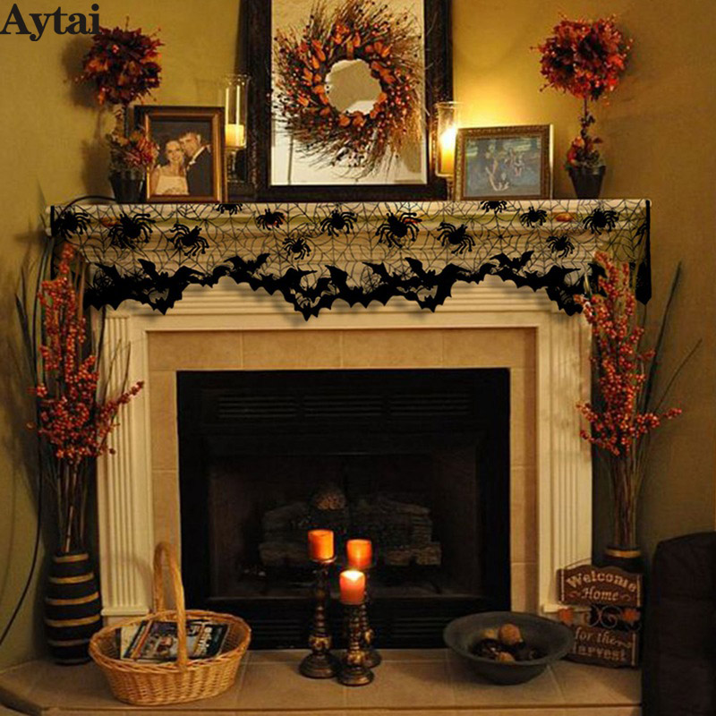 Fireplace Halloween Decorations: Aytai 1pc Halloween Black Lace Spiderweb Fireplace Mantle