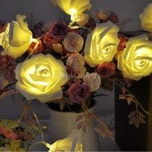 30pcs/lot Beautiful Holiday Lighting 20 x LED Novelty Rose Flower Fairy String Lights Wedding Garden Party Christmas Decoration