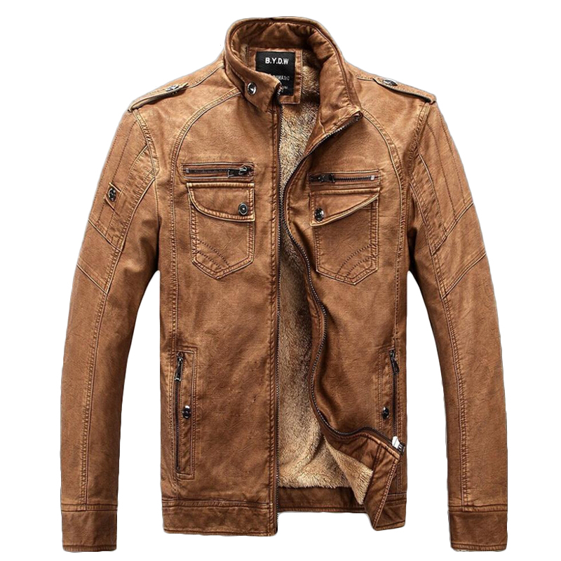 Winter Jacket Men Leather Jacket Mens Warm Thickening Wool Windbreak Waterproof Skin Lamb Fur Trench Coat leather velvet parka