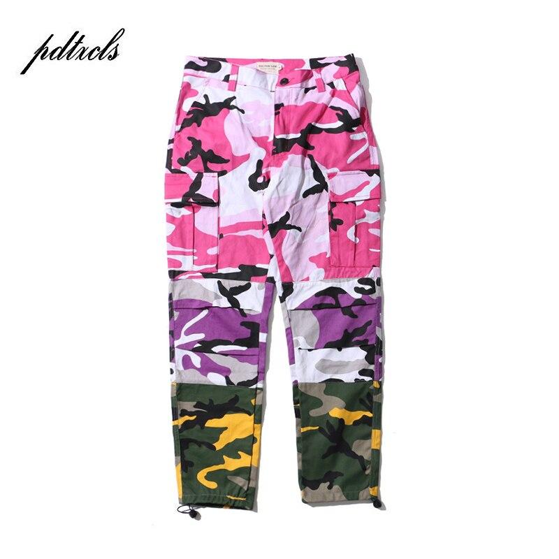 49HOT Tri Color Camo Patchwork Cargo Pants Men's Hip Hop Casual Camouflage Trousers Fashion Streetwear Joggers Sweatpants Size