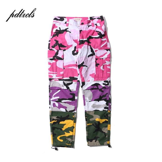 b9bd4a8d43f 49HOT Tri Color Camo Patchwork Cargo Pants Men s Hip Hop Casual Camouflage  Trousers Fashion Streetwear Joggers
