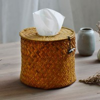 NEW Rural Style Round Nature Straw Dining Table Napkin Holder Tissue Box Environment Friendly Paper Box