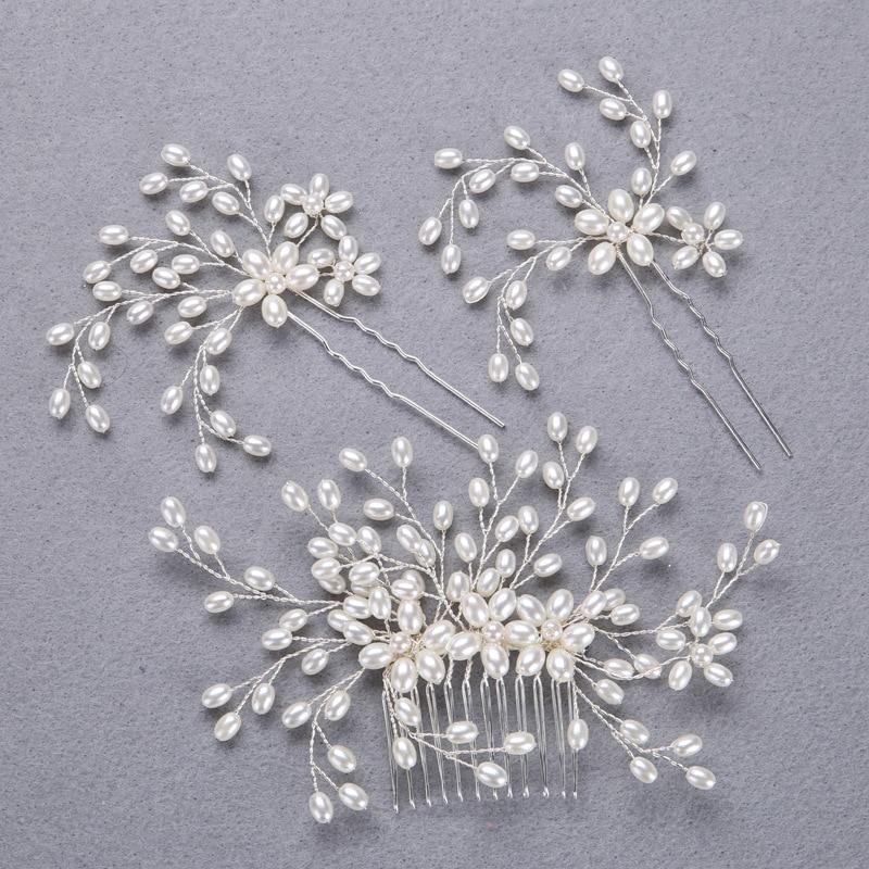 3pc fashion pearl bride headdress hair jewelry FORSEVEN Silver Handmade combs Wedding pearl hair accessorie Hair pin E17082-21