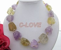 Natural Amethyst Lemon Quart Rough Nugget Necklace Free Shippment
