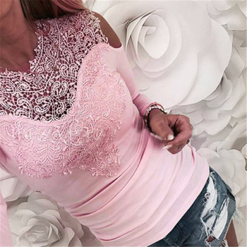 Sweet Lace T-Shirt Women Off The Shoulder Pink Slim Fit Tees Ladies