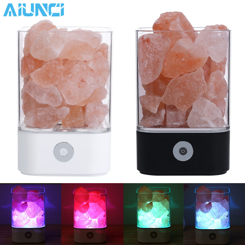 USB Crystal Salt Night Light Himalayan Crystal Rock Salt Lamp LED Air Purifier Night Light Rechargeable Bedside creative lamp tanbaby usb crystal salt night light himalayan crystal rock salt lamp air purifier night light touch dimmer switch creative gift