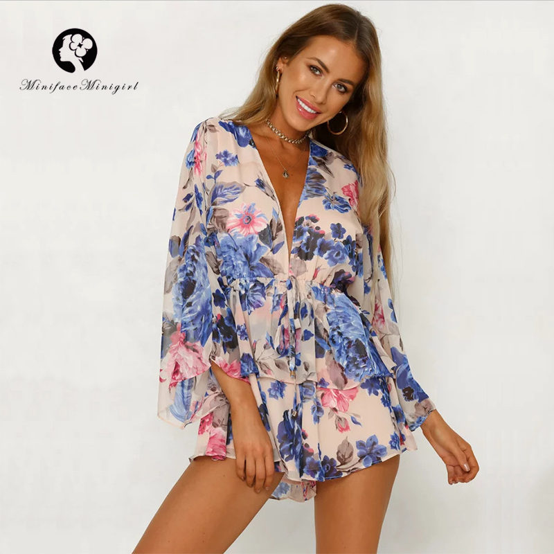 Boho Summer Magic Style Print Playsuits Batwing Sleeve Romper Bohemian Floral Women Pleated High Waist Ruffles Casual Playsuit
