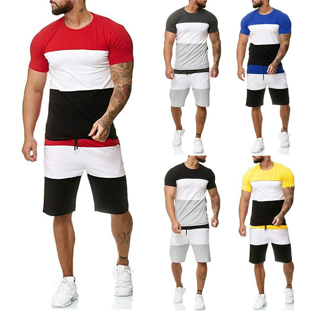 Casual Men's Set Summer Short Sleeve Sports Set Stitched Polyester Set Round Collar 2 Piece Outfit Y603