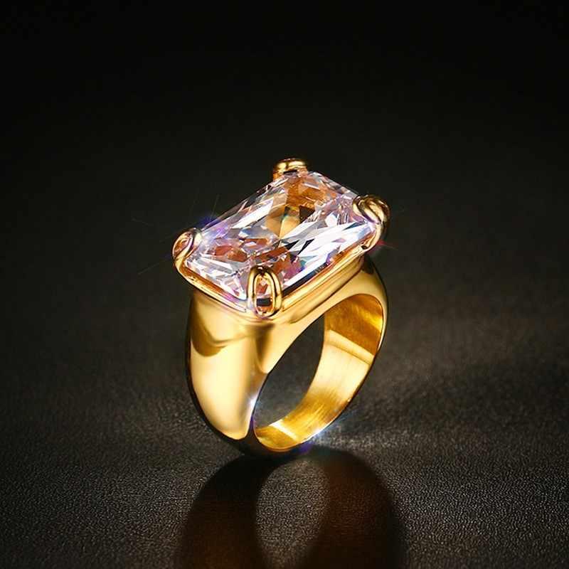V noxหรูหราCZแหวนหินสำหรับผู้หญิงแควเพทายแหวนทอง-สีสแตนเลส