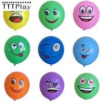 10 unids/lote 12 pulgadas grande ojos cara sonriente globos grueso 2,8g ojos grandes sonrisa imprimir globo de la fiesta de cumpleaños de los niños globos suministros