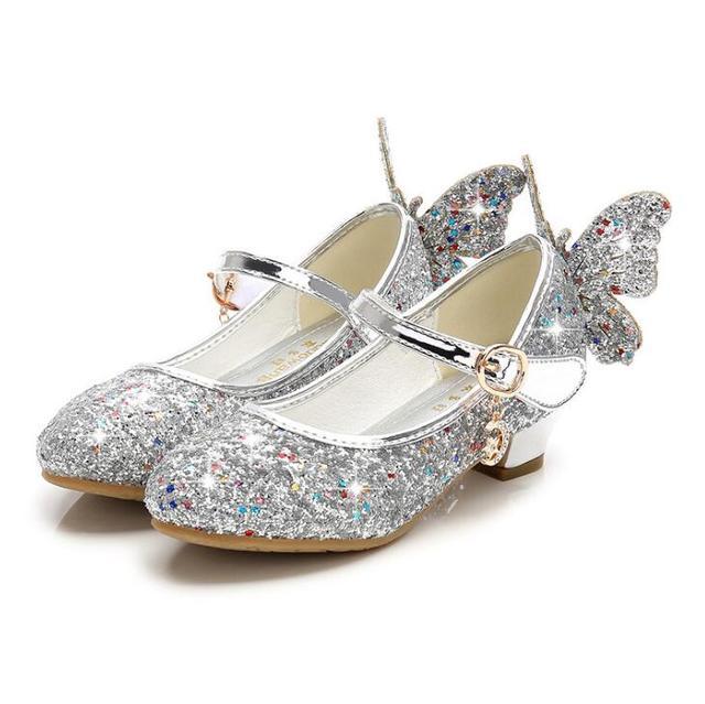 64f458c2f5 US $12.85 46% OFF 2019 Girls Princess Shoes Children High Heels Bow Sandals  Glitter Model Dance Dress Weddings Kids Fashion Sequins Leather Shoe-in ...