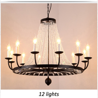 T LOFT American Crystal Pendant Light Retro Iron Lamp Candlestick For Bedroom Home Shop Store Dining Room Restaurant Coffee Shop
