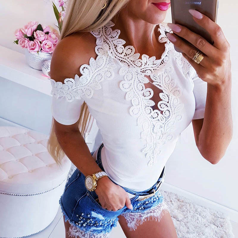 Feminina   Blouse     Shirt   Appliques Fashion Woman   Blouses   2019 Casual Short Sleeve Womens Tops and   Blouses   Summer Off Shoulder Top