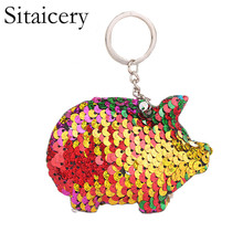 Sitaicery Pig Key Chain Shiny Sequin Keychain Reflective Ring Love Gifts For Couples In Keys Accessories
