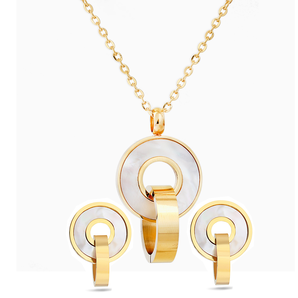 Fashion Jewelry Sets Gold Color Stainless Steel Shell Pendant Necklace Earrings Accessory For Women Wedding Party qi ra gold color rear belt pendant with leather rope handmade party jewelry han solo a story of star wars necklace for women