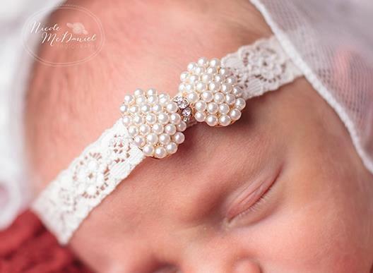 Image 1pc free shipping Baby Princess Lace Rhinestone Headband baby girl headband With Sparking Rhinestone Luxe Hair Accessories