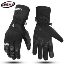 SUOMY Motorcycle Gloves Genuine Cow Leather Moto Gloves Touch Screen Waterproof Motocross Gloves Winter Motorbike Riding Gloves недорго, оригинальная цена