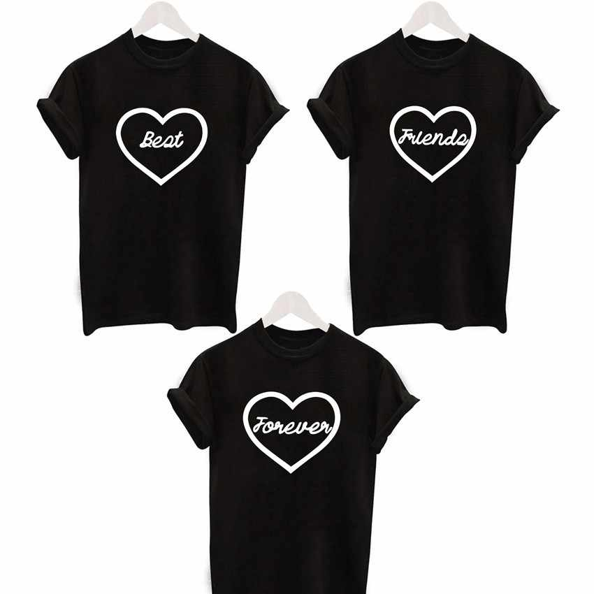 2016 fashion Cute Heart Printed T shirt lover t-shirts Best Friend Forever Tee  Shirt ae111900b