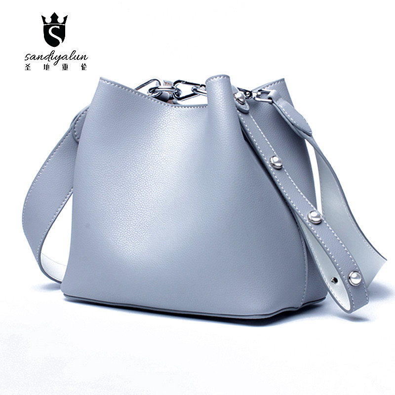 Fashion Women Small Bucket Bag Genuine Leather Crossbody Bags Handbags Shoulder Bags Day Clutches Party Ladies Messenger Bag fashion women leather handbags imperial crown small shell bag women messenger bag ladies shoulder crossbody bag clutches bolsa