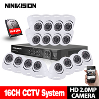 Dome 16CH CCTV System 1080P DVR Kits HDMI HD White 3000TVL Indoor IR CUT Camera With