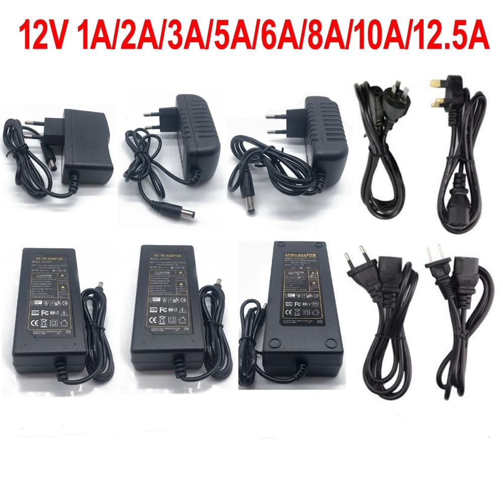1 х трансформатор питания для освещения 100-240 В переменного тока в 12 В постоянного тока, 1 А, 2 А, 3 А, 5 А, 6 А, 8 А, адаптер, конвертер, зарядное устро...