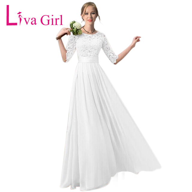 LIVA GIRL Chiffon Lace Party Long Dress 2019 Women White Hollow Bridesmaid  Half Sleeve Pleated Maxi Pink Wedding Robe Vestido 2X 551a2d7c51f1