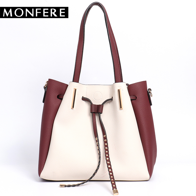 Monfere new casual soft brand shoulder bags top handle women bag color wide strap messenger bags patchwork ladies composite bag cropped wide sleeve top