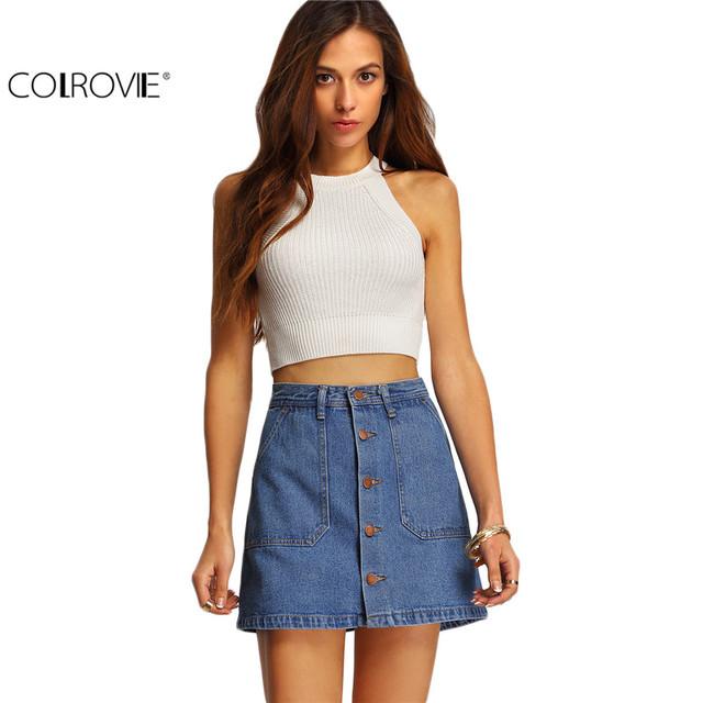COLROVIE Famosa 2016 Verão Estilo Mulheres Mini Saias de Cintura Alta Sexy Womens Pockets Azul Único Breasted Denim Saia Uma Linha