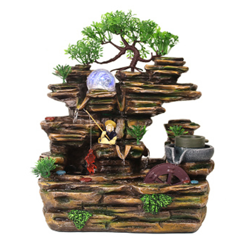 Rockery fountain sculpture Atomizing humidifier and fengshui humidifier Sculpture Statue home decoration craft gift fortune