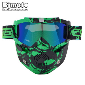BJMOTO CRG Motorcycle Helmet Mask Detachable Goggles And Mouth Filter for Modular Open Face Moto Vintage Helmet Mask