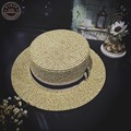 Vintage New Summer women's straw pork pie hat gentlemen flat fedoras dome hats straw bowler hat with ribbon