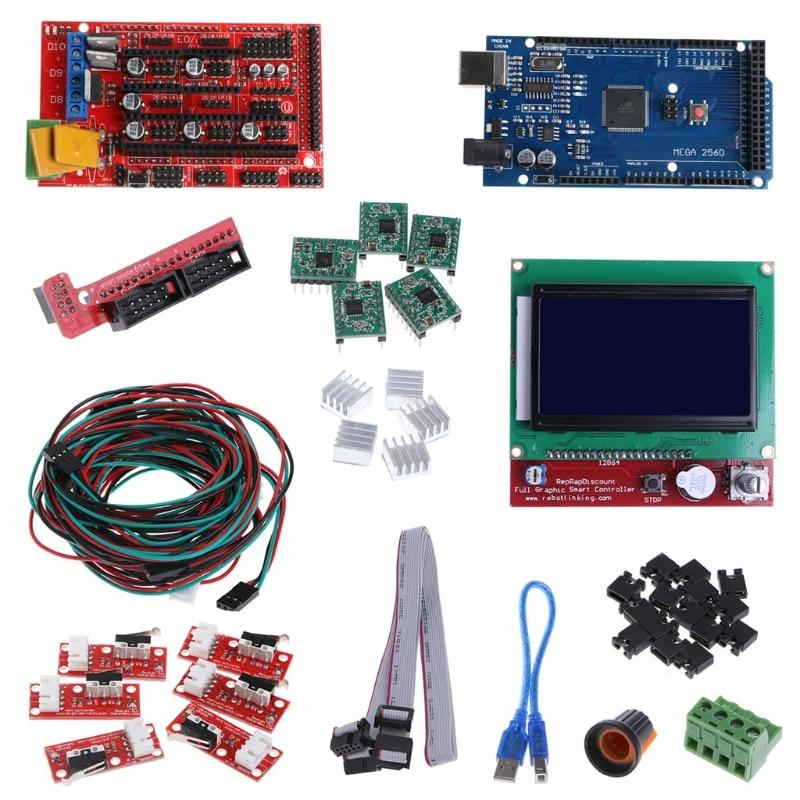 CNC 3D Imprimante Kit Mega 2560 R3 + RAMPES 1.4 Contrôleur + LCD 12864 + 5 A4988 Stepper Pilote