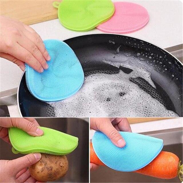 Gadget da cucina 1 pz Silicone di Frutta e Verdura Per Lavare I Piatti Spugna Pe