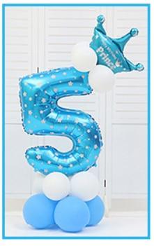 16 шт./упак. розового и голубого цвета для детей 0-9 цифры Большие Гелиевые номер Фольга детей фестивалей Dekoration День рождения шляпа игрушки для детей - Цвет: blue 5