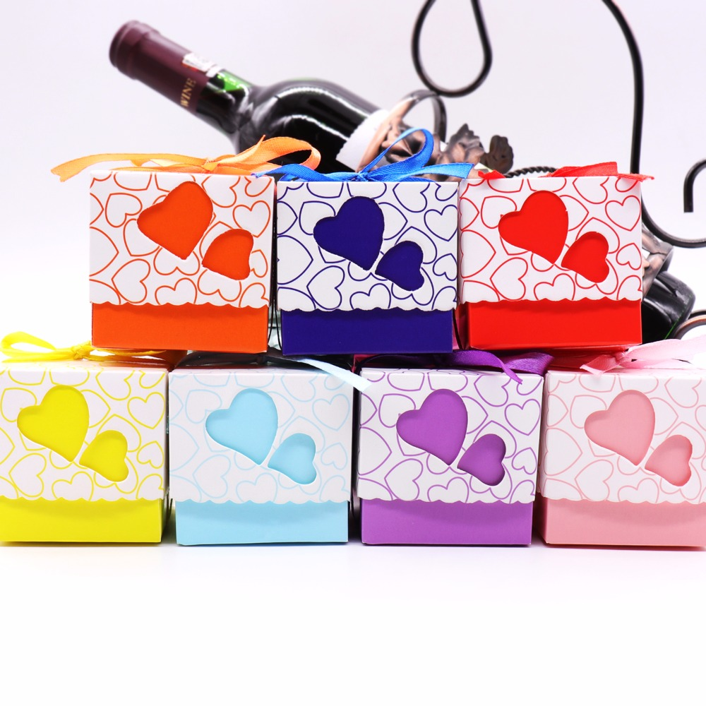 50pcs Double Hollow Love Heart Wedding Candy Boxes Design Laser Cut Wedding Party Favor Gifts Candy Bags With Ribbon Party Sup
