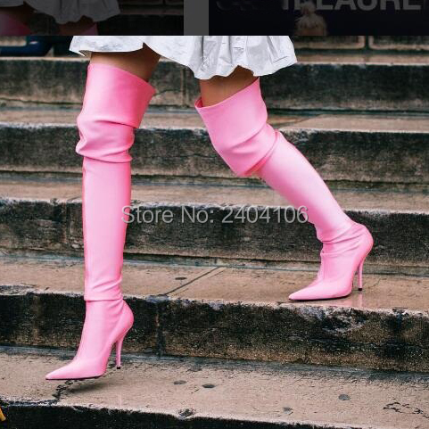 Fashion Fetish Shoes Woman Pointed Toe High Heels Over The Knee Sock Booties Satin/Velvet/Floral Stretch Thigh High Boots Women