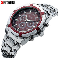 Men Business Watch Clock Curren Mens Watches Top Brand Luxury Military Full Stainless Steel Quartz Wrist