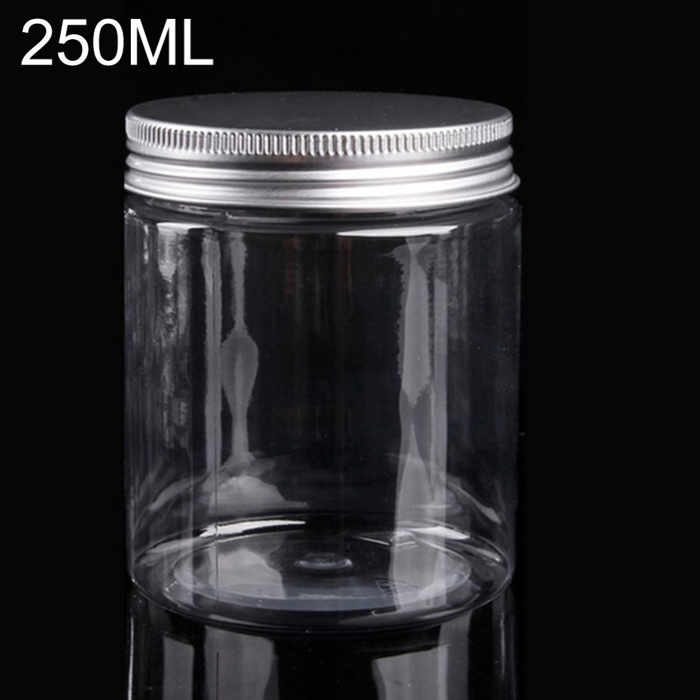 250ml Plastic Jar With Lids Screw Tin Large Clear Container Empty Cosmetic Containers Bead Cream Powder Jar Makeup Container