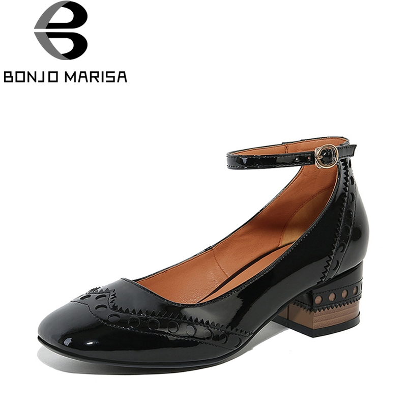 BONJOMARISA 2018 Spring Autumn Patent Genuine Leather Square Toe Pumps Mature OL Shoes Woman Med Heels Shallow Women Shoes facndinll 2018 spring women pumps shoes med heels pointed toe rivets patent leather rome style shoes woman casual shoes pumps