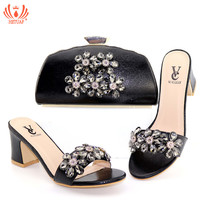 New Arrival Shoes and Bag Set African Sets 2019 Black Color Italian Slippers with Bag Set Decorated with Rhinestone High Quality