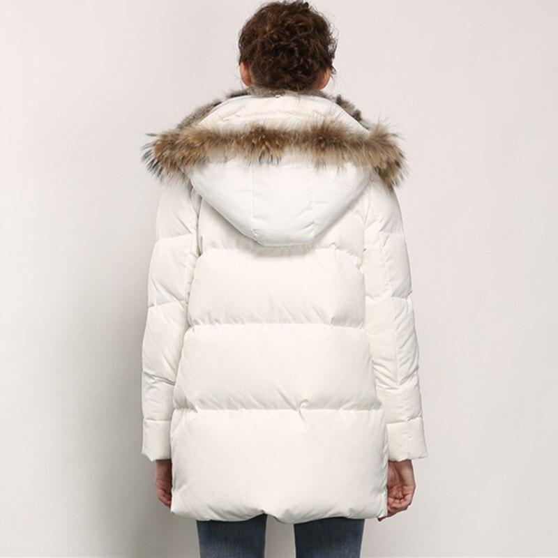 Décontracté Hiver Taille Canard 2019 Épaississent Duvet Dames black Femmes Lapin White blue Blanc Manteau Col Grande Réel Fourrure Femme Mode Chaud Vestes Parka De EwAdnqd6Cx