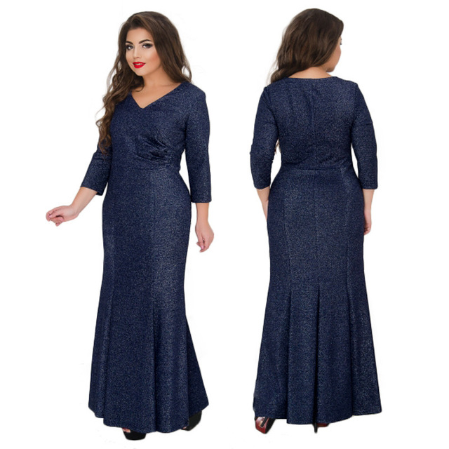 17893ccac59 Women Elegant Modest V-neck Trumpet Dress Evening Celebrity Party Plus Size  Classy Dress With Long Sleeves Vestidos De Festa
