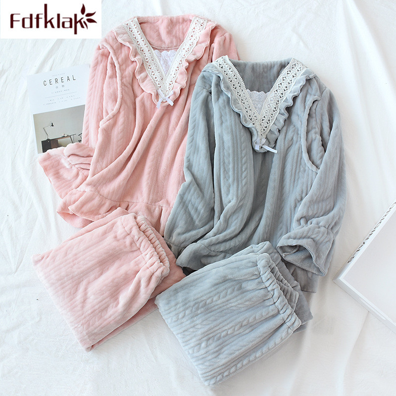 Thick warm winter   pajamas     set   long sleeve flannel winter pyjamas women spring autumn home clothes lace sweet girl's pijama mujer