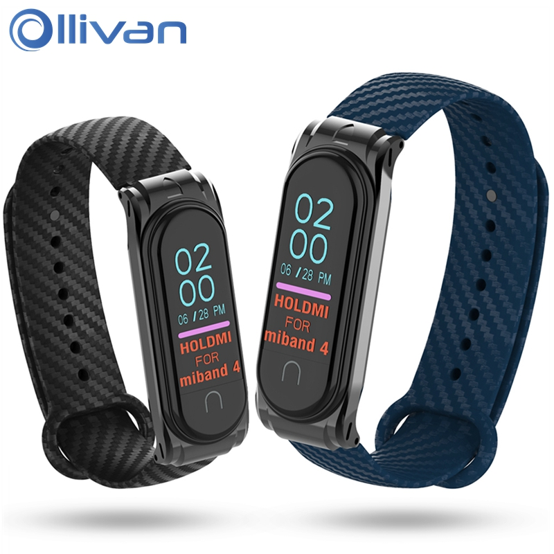 Ollivan Carbon Fiber Mi Band 4 Strap Fashion Color Wrist Straps Metal Case For MiBand 4 3 Xiaomi Mi Band 4 Replacement Wristband
