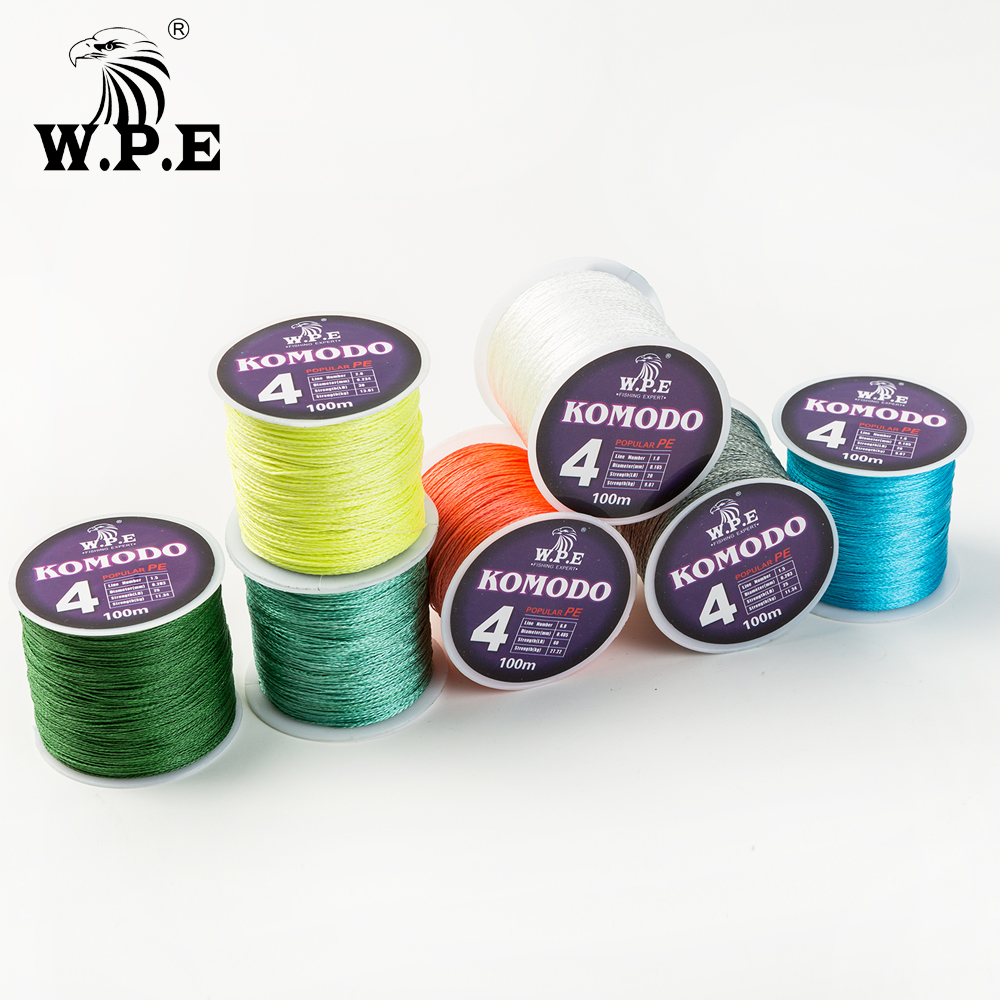 W.P.E KOMODO Series Braided Fishing Line 4 Strands 100M 150M 300M PE Braided Fishing Wire 0.6#-4.0# with A Free pcs of Swivel